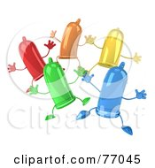 Royalty Free RF Clipart Illustration Of A 3d Group Of Colorful Happy Condom Characters Jumping