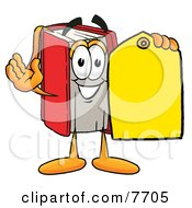Clipart Picture Of A Red Book Mascot Cartoon Character Holding A Yellow Sales Price Tag