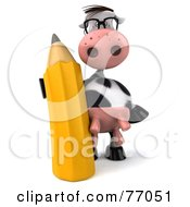 Royalty Free RF Clipart Illustration Of A 3d Horton The Cow Standing With A Pencil by Julos