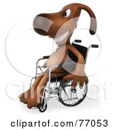 Royalty Free RF Clipart Illustration Of A 3d Brown Pooch Character Facing Left And Sitting In A Wheelchair by Julos
