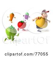 3d Chubby Burger Man Running Away From Vegetables