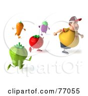 Royalty Free RF Clipart Illustration Of A 3d Chubby Burger Man Running Away From Vegetables by Julos