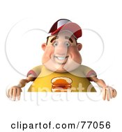 Royalty Free RF Clipart Illustration Of A 3d Chubby Burger Man With A Blank Sign