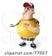 Royalty Free RF Clipart Illustration Of A 3d Chubby Burger Man Gesturing And Standing by Julos