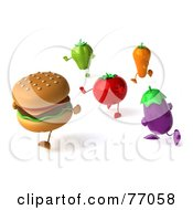 Royalty Free RF Clipart Illustration Of A 3d Cheeseburger Running From Healthy Veggies