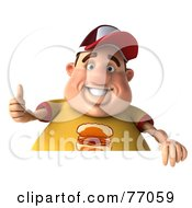 3d Chubby Burger Man Giving The Thumbs Up And Holding A Sign