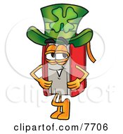 Clipart Picture Of A Red Book Mascot Cartoon Character Wearing A Saint Patricks Day Hat With A Clover On It