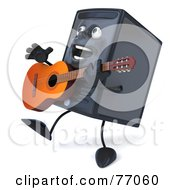 Royalty Free RF Clipart Illustration Of A 3d Computer Tower Character Playing A Guitar