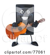 Royalty Free RF Clipart Illustration Of A 3d Computer Tower Character Guitarist