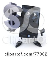 Royalty Free RF Clipart Illustration Of A 3d Computer Tower Character Carrying A Silver Dollar Symbol