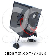 Royalty Free RF Clipart Illustration Of A 3d Computer Tower Character Inspecting Itself With A Stethoscope