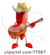 3d Red Chili Pepper Character Playing Country Music
