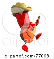 3d Red Chili Pepper Character Cowboy Musician