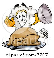 Chefs Hat Mascot Cartoon Character Serving A Thanksgiving Turkey On A Platter by Toons4Biz