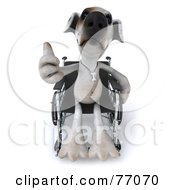 3d Jack Russell Terrier Pooch Character Giving The Thumbs Up And Sitting In A Wheel Chair by Julos
