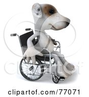 3d Jack Russell Terrier Pooch Character In A Wheel Chair by Julos