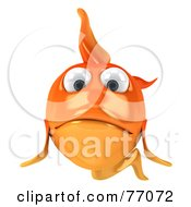 Royalty Free RF Clipart Illustration Of A 3d Sad Goldfish Character Facing Front by Julos