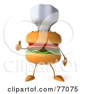 Royalty Free RF Clipart Illustration Of A 3d Cheeseburger Character Giving The Thumbs Up And Wearing A Chef Hat