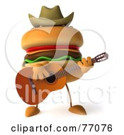 Royalty Free RF Clipart Illustration Of A 3d Cheeseburger Character Playing A Guitar And Wearing A Cowboy Hat