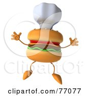 Royalty Free RF Clipart Illustration Of A 3d Cheeseburger Character Jumping And Wearing A Chef Hat