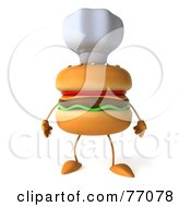 Royalty Free RF Clipart Illustration Of A 3d Cheeseburger Character Wearing A Chef Hat