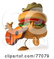 Royalty Free RF Clipart Illustration Of A 3d Cowboy Cheeseburger Character Playing A Guitar