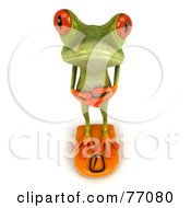 3d Green Tree Frog Weighing Himself On A Scale by Julos