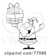 Royalty Free RF Clipart Illustration Of A Black And White Coloring Page Outline Of Santa Holding Up Gifts