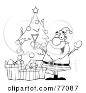 Royalty Free RF Clipart Illustration Of A Black And White Coloring Page Outline Of Santa Drinking Champagne By A Christmas Tree by Hit Toon