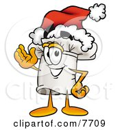 Clipart Picture Of A Chefs Hat Mascot Cartoon Character Wearing A Santa Hat And Waving