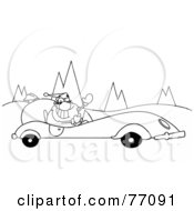 Royalty Free RF Clipart Illustration Of A Black And White Coloring Page Outline Of Santa Driving A Convertible