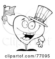 Royalty Free RF Clipart Illustration Of A Black And White Coloring Page Outline Of A Heart Uncle Sam