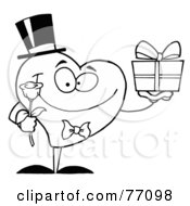 Royalty Free RF Clipart Illustration Of A Black And White Coloring Page Outline Of A Heart Giving A Present And Flower