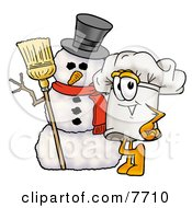 Clipart Picture Of A Chefs Hat Mascot Cartoon Character With Three Snowflakes In Winter by Toons4Biz