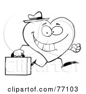 Royalty Free RF Clipart Illustration Of A Black And White Coloring Page Outline Of A Heart Businessman