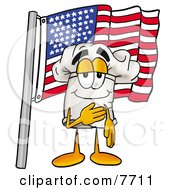 Clipart Picture Of A Chefs Hat Mascot Cartoon Character Pledging Allegiance To An American Flag