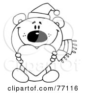 Royalty Free RF Clipart Illustration Of A Black And White Coloring Page Outline Of A Bear Holding A Heart by Hit Toon