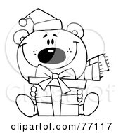 Royalty Free RF Clipart Illustration Of A Black And White Coloring Page Outline Of A Bear Holding A Gift by Hit Toon