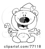 Royalty Free RF Clipart Illustration Of A Black And White Coloring Page Outline Of A Bear Holding A Candy Cane by Hit Toon