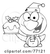 Royalty Free RF Clipart Illustration Of A Black And White Coloring Page Outline Of A Penguin Holding Christmas Pudding by Hit Toon