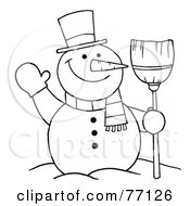 Royalty Free RF Clipart Illustration Of A Black And White Coloring Page Outline Of A Snowman With A Broom