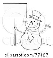 Royalty Free RF Clipart Illustration Of A Black And White Coloring Page Outline Of A Snowman Holding A Sign by Hit Toon