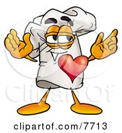 Clipart Picture Of A Chefs Hat Mascot Cartoon Character With His Heart Beating Out Of His Chest by Toons4Biz