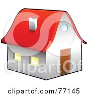 Royalty Free RF Clipart Illustration Of A White House Or Church With A Red Roof by Jiri Moucka
