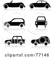 Digital Collage Of Black And White Car Icons With Reflections
