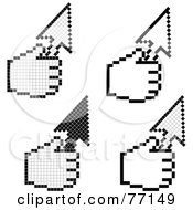 Royalty Free RF Clipart Illustration Of A Digital Collage Of Black And White Hand Cursors Holding Arrows by Jiri Moucka