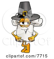 Clipart Picture Of A Chefs Hat Mascot Cartoon Character Wearing A Pilgrim Hat On Thanksgiving by Toons4Biz