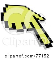 Royalty Free RF Clipart Illustration Of A Black And Yellow Hand Cursor Pointing by Jiri Moucka
