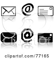 Digital Collage Of Black And White Email Icons With Reflections