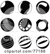 Digital Collage Of Black And White Circle Icons With Reflections